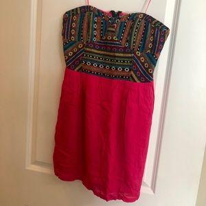Staring @ Stars Hot Pink Aztec Strapless Dress/ 12